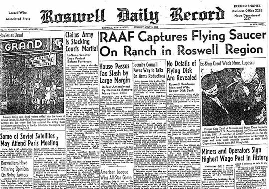 Roswell Daily Record July 8, 1947.