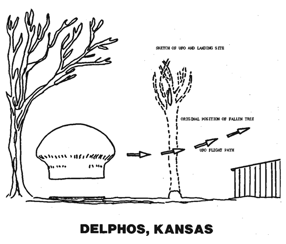 1.A drawing of the Delphos object and its trajectory as it flew off. (Credit: MUFON)
