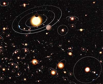 Artist's rendition of the Milky Way's billions of planets. (credit: M. Kornmesser / ESO)