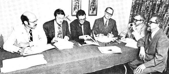 National Inquirer panel from 1975. From left: Dr. R. Leo Sprinkle, Dr. Frank Salisbury, Dr. James Harder, Dr. Robert Creegan, Dr. J. Allen Hynek and Mr. Jim Lorenzen. (Credit: APRO)