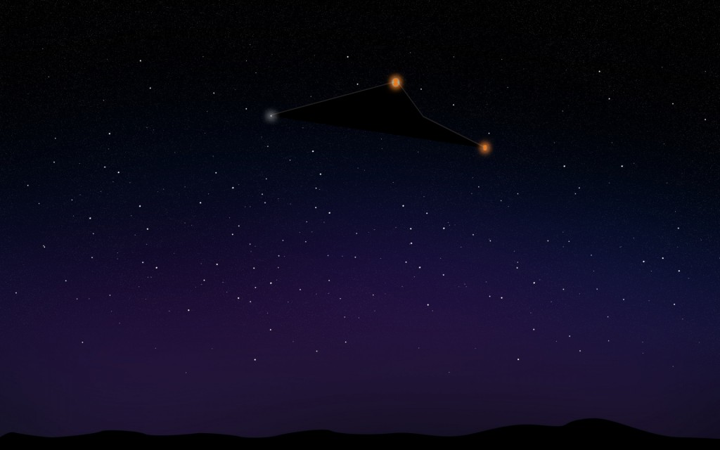 Witness illustration of the low flying triangle UFO. (Credit: MUFON)