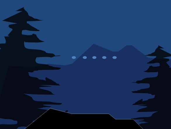 Illustration of the lights in relation to the mountains and trees. (Credit: CEFAA)