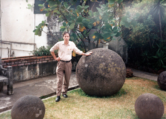 Antonio with the stone spheres. (image credit: Antonio Huneeus)