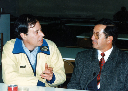 Antonio Huneeus (left) with air traffic controller Gustavo Rodríguez, currently CEFAA's Executive Secretary, during an interview in Santiago in 1997. (Image credit: Antonio Huneeus)