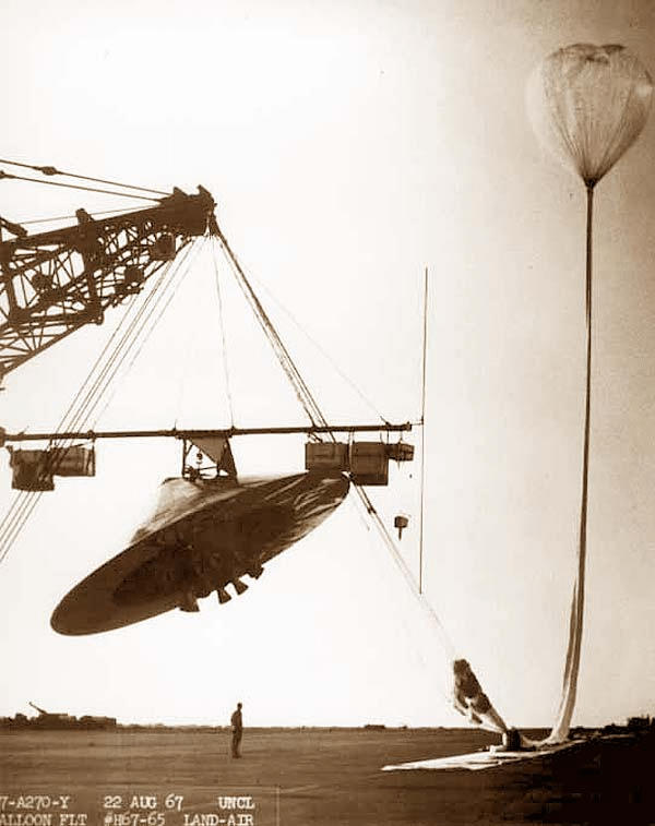 A high-altitude balloon being launched from the Roswell air field in 1967.