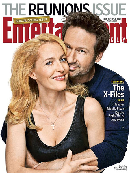 Gillian Anderson and David Duchovney on the cover of Entertainment Weekly in 2013.