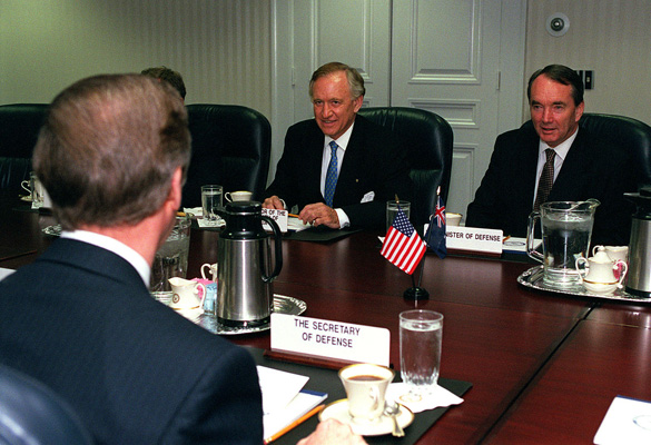 Australian Minister of Defense John Moore (right) and Australian Ambassador to the United States Andrew Peacock (center) meet with Secretary of Defense William S. Cohen (left) at the Pentagon in 1999. (Credit: U.S. Department of Defense)