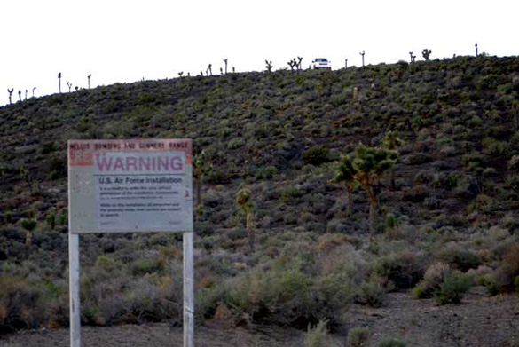 Warning signs at the Area 51 back entrance. (Credit: Alejandro Rojas)