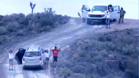 Trespassers being detained at Area 51. (Credit: Jeremiah Hasvold/YouTube)