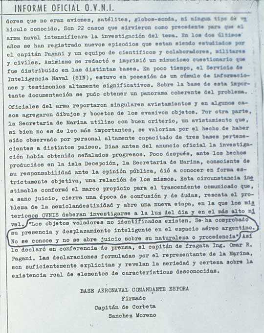 "Page 2 of the ""Official UFO Report"" on the May 22, 1962 sighting by pilots and top Navy officers at the Naval Base in Puerto Belgrano."