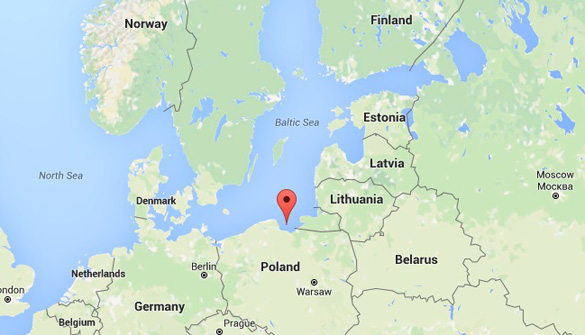 The red marker shows the location of the Bay of Gdansk where the UFO video was allegedly taken. (Credit: Google Maps)
