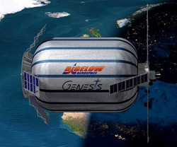 Artist rendition of the Bigelow Aerospaces inflatable space module that is now in orbit. (image credit: Bigelow Aerospace)