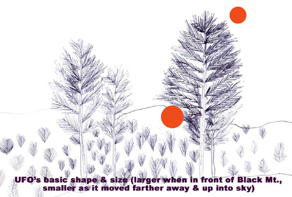 "Mrs. Langin's drawing showing both the primary shape of the bizarre light & how its size diminished somewhat as it ""floated"" upward behind the spruce tree & into the early morning sky."