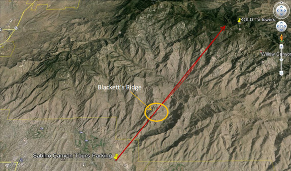 A map pf the area the video was taken in. (Credit: Arizona MUFON/Google Maps)