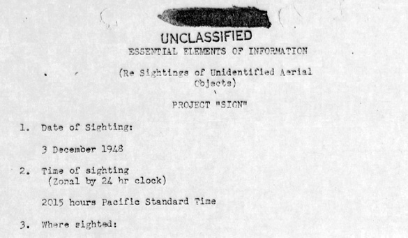 USAF Project Blue Book case file #215. (Credit: USAF/National Archives)