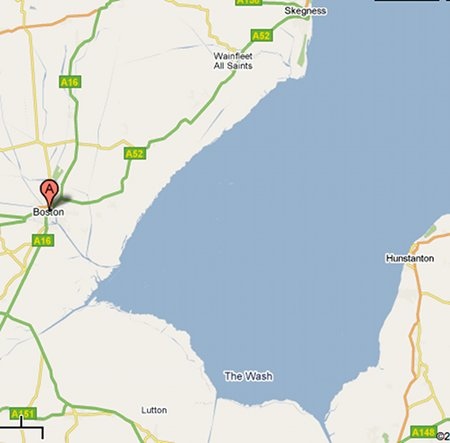 A map of Boston, Skegness, and the Wash (Google Maps).