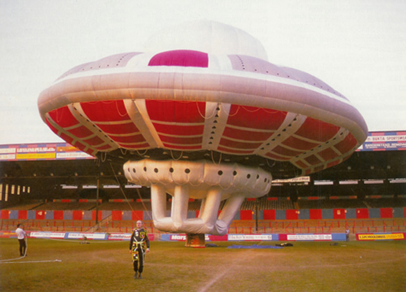 Virgin's UFO balloon on the ground at Surrey Field. (Credit: Virgin)