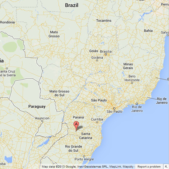Location of Ipuaçu on map of Brazil.