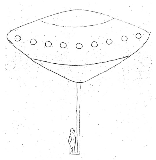Brigg's sketch of the UFO and occupant.