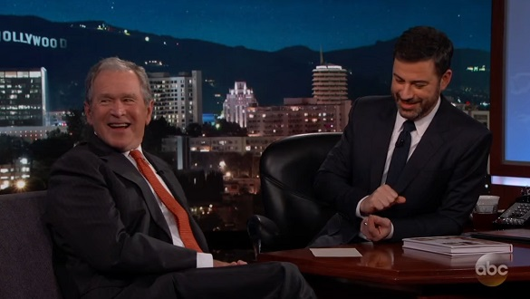 Bush and Kimmel laugh during UFO discussion on Jimmy Kimmel Live! (Credit: YouTube/Jimmy Kimmel Live!)