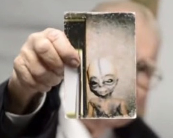 Close-up of Bushman's alien picture. (Credit: YouTube/Mark Q Patterson)