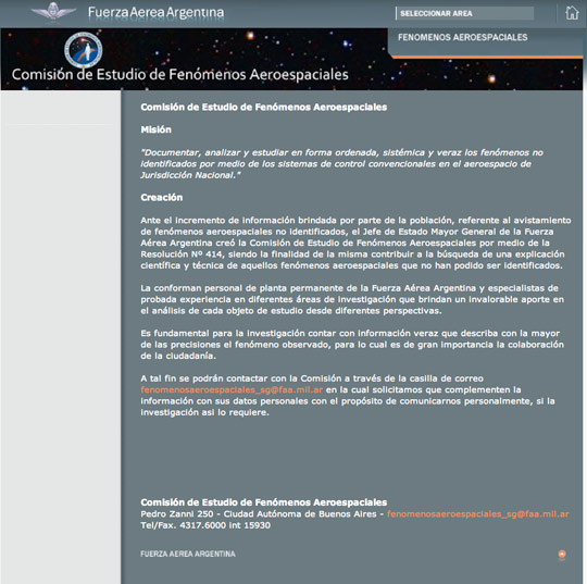 The official communiqué about the UFO commission in the Argentinean Air Force website.