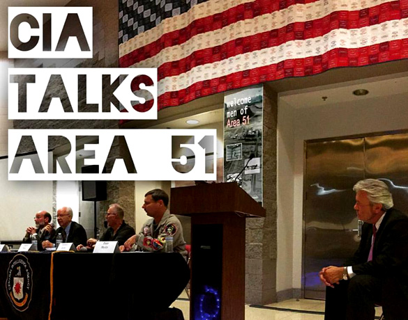 Picture taken at the National Atomic Testing Museum of CIA panel on Area 51. (Credit: Jeremy Corbell/Facebook)