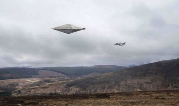 A recreation of the Calvine UFO photo poster. (Credit: Channel 5)