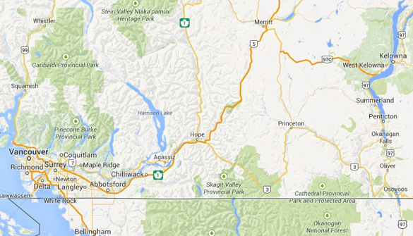 map of west kelowna in relation to vancouver credit google maps