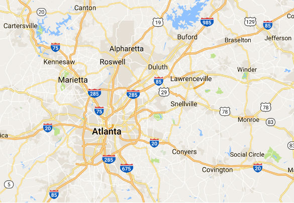 The route the witness was taking from Cartersville to Canton on the I-20 can be seen in the upper left corner of this map, along with the area's proximity to Atlanta, Georgia. (Credit: Google Maps)