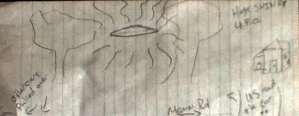 The witness drew this illustration after he and his daughter witnessed a disc-shaped UFO hovering over Mann Road in Indianapolis on November 11, 2013. (Credit: MUFON)