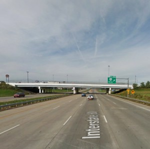 The UFO was reported under 330 feet off the ground and passing over State Route 46 at I-680 near Austintown, Ohio, about 8:20 p.m. on March 18, 2014. (Credit: Google)