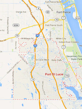 A Port St. Lucie, Florida, couple reported an unusual encounter with lights in a wooded area. (Credit: Google)
