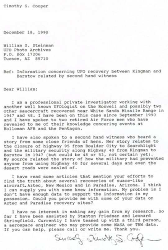 Figure 3: Letter from investigator Tim Cooper.