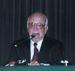 Col. Corso speaking at a conference (credit: Baiata Collection)