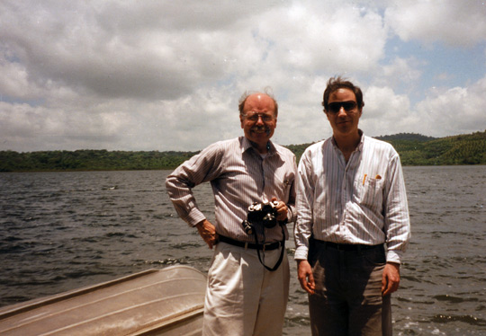 Dr. Richard Haines (left) and Antonio Huneeus at Cote Lake. (image credit: Antonio Huneeus)