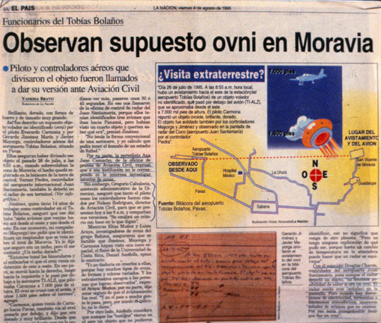 "August 4, 1995 article from the newspaper La Nación about the Radar-Visual UFO case, titled: ""Supposed UFO observed in Moravia – Pilot and air controllers who saw the object were called to give their version to Civil Aviation."" (image credit: Huneeus Collection)"