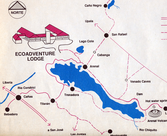 Map showing the larger, Arenal Lake and the smaller Cote Lake above. (image credit: Econo-Lodge)