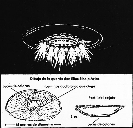 Sibaja's original sketches and reconstruction of the UFO which stopped his police car on Jan. 17, 1980. (image credit: Huneeus Collection)