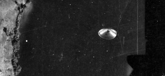 Cote Lake UFO Photo en.largement. Click the image to see the entire frame of the negative.  (image credit: National Geographic Institute of Coast Rica)
