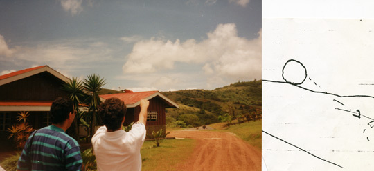 Eco Lodge employees point at the spot where they saw the UFO, along with a sketch of what they saw. Don Jose Flaqué