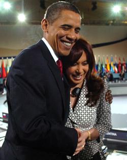 Cristina Fernández de Kirchner with Presdient Obama (image credit: Govt. of Argentina).