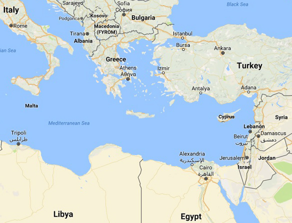 Map showing Malta and Cyprus. (Credit: Google Maps)