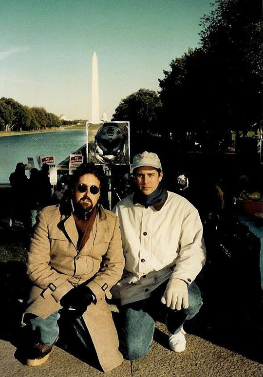 Brayce Zabell (right) and Brent Freidman on the set in D.C. (image credit: NBC)