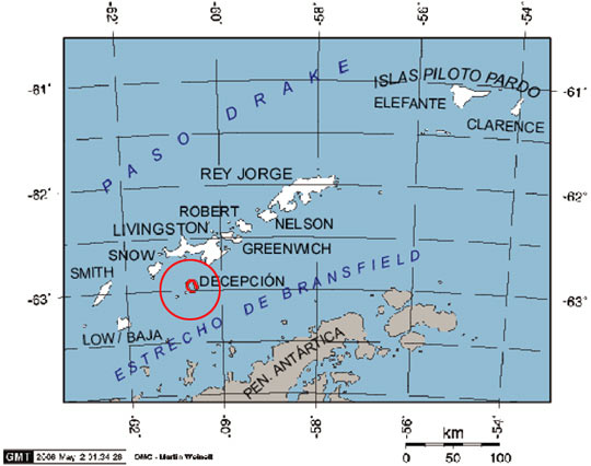 Location map of Deception Island in the South Shetland Islands (image credit: Giovanni Fattori over a GMT free license map)