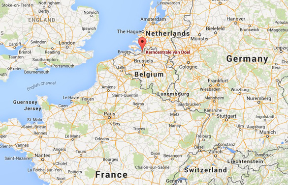 Location of the Doel Nuclear Power Plant in Belgium. (Credit: Google Maps)