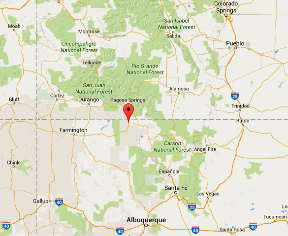 Red marker shows the location of Dulce, New Mexico. (Credit: Google Maps)