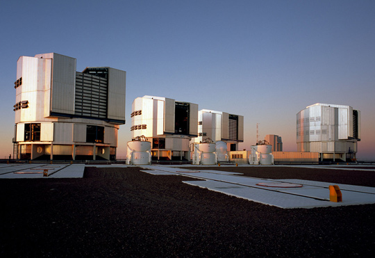 The Paranal platform with the four main Very Large Telescope (VLT) units in 2007. (image credit: ESO/H.H.Heyer)