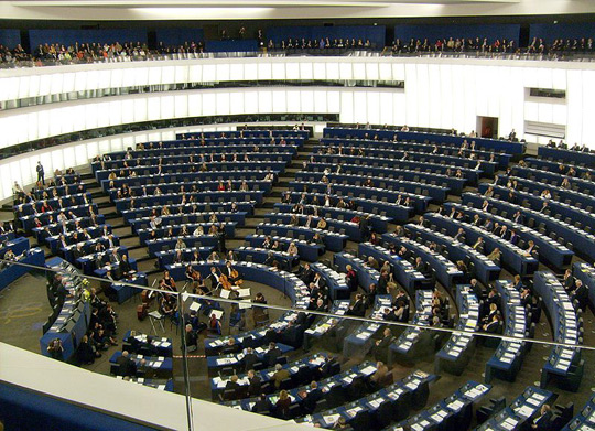 European Parliament's Louise Weiss building in Strasbourg, France.