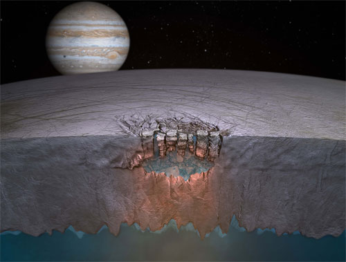 Artist's depiction of Europa's subsurface ocean. (Credit: NASA/JPL-Caltech)
